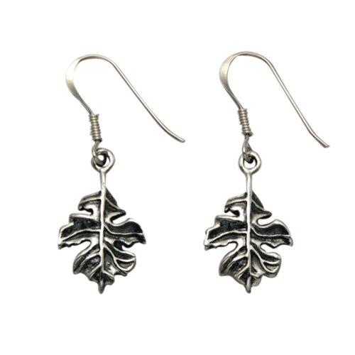 (Sterling Silver Oak Leaf Wire Earrings)