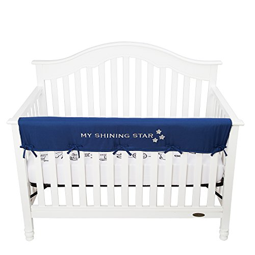 TILLYOU Padded Baby Crib Rail Cover Protector Safe Teething Guard Crib Wrap for Long Front Crib Rails 100% Silky Soft Microfiber Polyester - Embroidered and Reversible - Navy, My Shining ()
