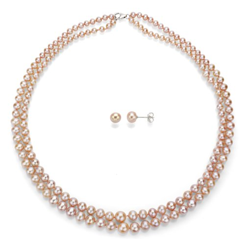 Sterling Silver Graduated 4-8.5mm 2-rows Pink Freshwater Cultured Pearl Necklace and Stud -
