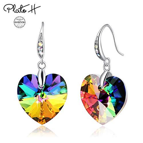 Swarovski Element Earrings Heart Earrings Color Changing Crystals Forever Love Drop Dangle Earrings for Girl, Birthday Birthstone Jewelry Gifts for Women, Rainbow (Swarovski Amethyst Earring)