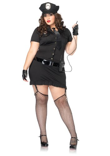 Leg Avenue Women's 6 Piece Dirty Cop Costume, Black, 1X-2X -