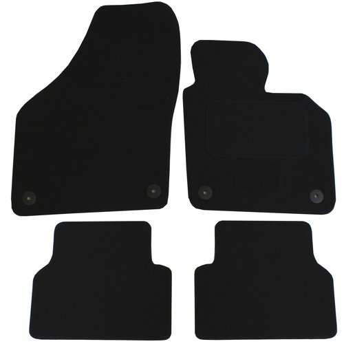 JVL Fully Tailored 4 Pieces Car Mat Set with 4 Round Clips - Black 1367