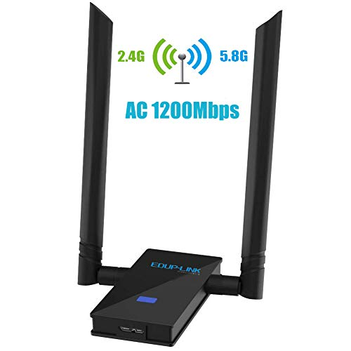 EDUPLINK AC 1200Mbps WiFi Adapter USB 3.0 Wireless Network Card Wi-Fi Dongle Adapter 802.11ac Dual Band 5G/2.4G 6dBi External Dual Antennas for Mac OS X 10.6-10.13,Windows XP/10/8/7,Vista