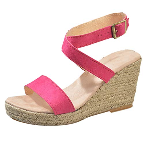 (Aniywn Women Fish Mouth Buckle Strap High Heel Shoes Ladies Summer Wedges Platform Sandals Non-Slip Hot Pink )