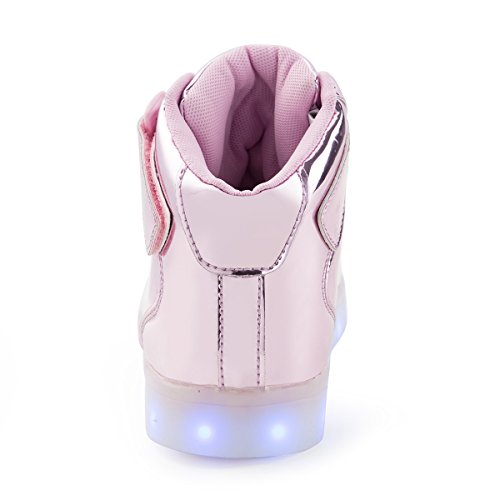 AFFINEST LED Light Up Shoes For Men Women High Top USB Charging 16 Colors Flashing Fashion Sneakers With Control App Boys Girls Lm-pink cUgfesb2T