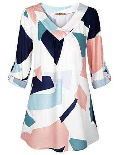 Blouses for Women Fashion 2018,Miusey Ladies V Neck Chiffon Tunic 3/4 Roll-up Sleeve Pleats Casual Wear Classy Printed Tops Dressy Leggings Shirts Button Decro Loose Fitting Work Shirt White Pattern L