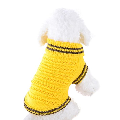 Mikey Store Pet Dog Sweater for Small Dogs Puppies (Yellow, S)