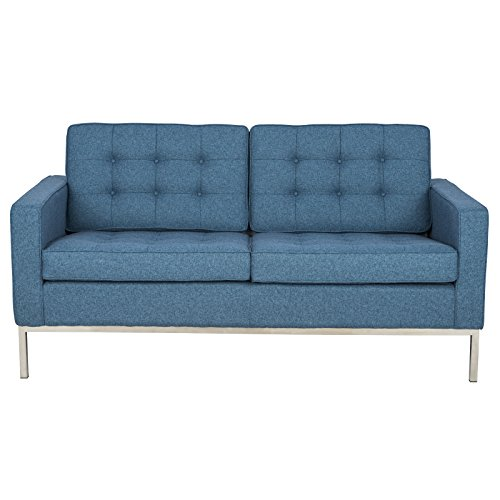 LeisureMod Florence Style Mid Century Modern Tufted Loveseat Sofa in Blue Twill (Designer Style Leather Loveseat)