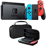 Nintendo Switch Neon Blue and Red Joy Con with Deco Gear Hard Shell Carry Case
