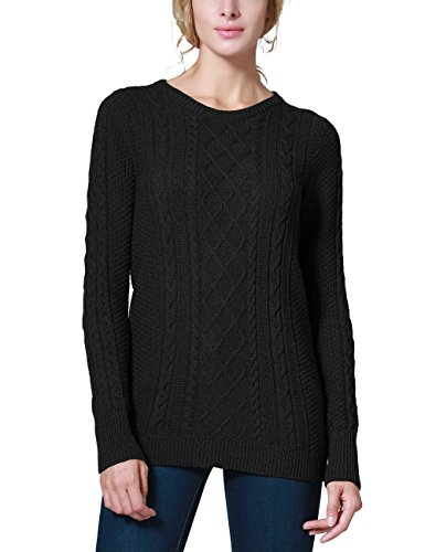 Rocorose Women's Crew Neck Cable Knitted Long Sleeve Tunic Sweater Black M (100% Cable Cotton)