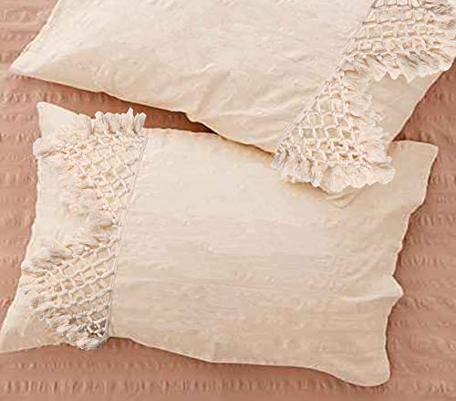 (Flber Tufted Tassel Sham Set Lattice Cotton Pillow Covers,18.9in x29.1in,Set of 2)