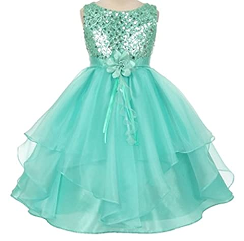 AkiDress Sequined Bodice Gorgeous with Organza Dress for Little Girl Tiffany 8 (Pinky Marie)