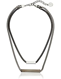 """Layer Snake Chain with Bar Pendant Strand Necklace, 17"""" + 2"""" Extender"""
