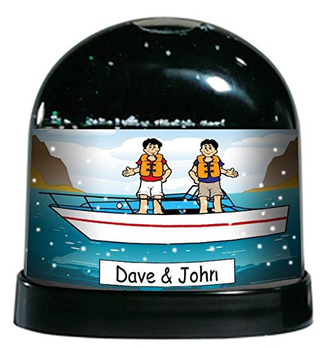 Printed Perfection Personalized Boat Buddies Snow Globe Gift Boating, Lake, Speed Boat, Vacation, Getaway ()