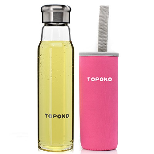 TOPOKO Handmade 18.5 Oz Glass Water Bottle-Extra Strong Crystal Glass Bottle With Handmade Colorful Handle Nylon Sleeve (Pink) (Play Water Pitcher compare prices)