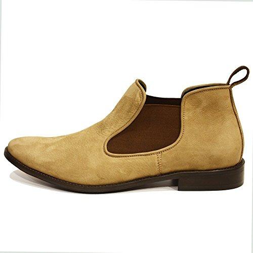 PeppeShoes Modello Lucjano - Handmade Italiano da Uomo in Pelle Marrone Stivali di Chelsea - Vacchetta Scamosciato - Scivolare su