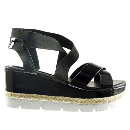Angkorly - Chaussure Mode Sandale semelle basket plateforme femme brillant corde Talon compensé plateforme 7.5 CM - Noir