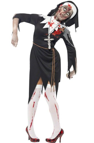 Smiffys Women's Zombie Bloody Sister Mary Costume, Dress, Latex Wound, Rope Belt and Headpiece, Zombie Alley, Halloween, Size 14-16, 38877 -