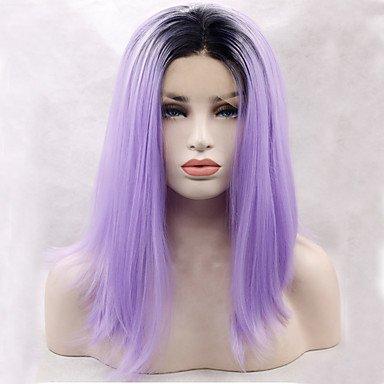 Peluca para disfraz de Halloween, peluca de encaje sintético para mujer, color morado y