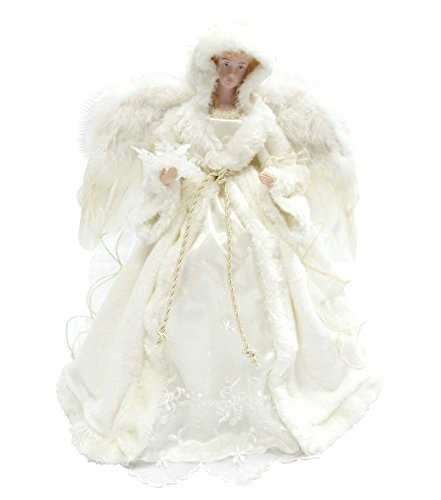 "Santa's Workshop 3027 Winter Angel Tree Topper, 16"", Whit..."