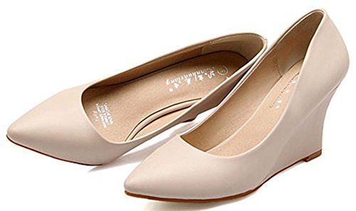 IDIFU Womens Sexy Mid Heel Wedge Shoes Pointed Toe Closed Slip On Low Top Pumps Apricot oGhwhUp