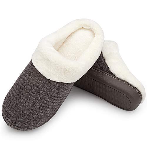Comme Intérieur Mémoire Femmes Pantoufles D'hiver Dames slip Kaki Tricoté Anti Chaussons Maison Chaud Souple Coton Laine Mousse Welltree Peluche Chaussures Gris wAdqSPS