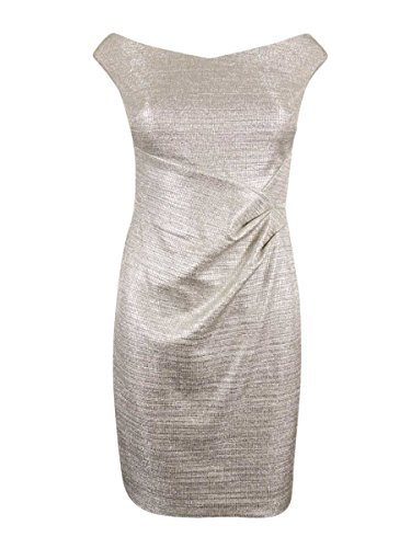 Silver Foil Dress (Ralph Lauren Women's Metallic Foil Sheath Dress (14, Silver)