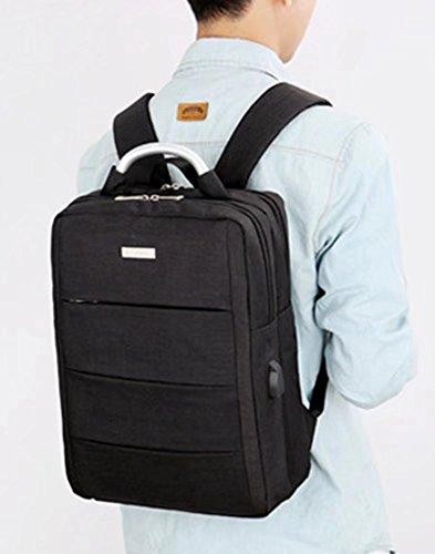 Laptop-Rucksack mit USB-Ladeanschluss,14 Zoll Laptoptasche,Wasserdichte Business Schulrucksack Unisex Daypack Casual Backpack Reiserucksack (Schwarz) Schwarz