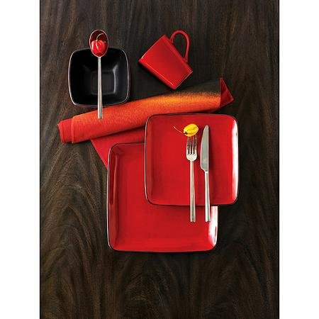 Better Homes and Gardens Rave 16-Piece Square Dinnerware Set