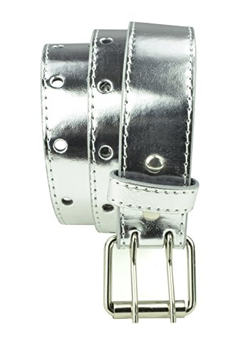 (Kids Two Hole Belt 2 Holes Double Prong Buckle PU Leather Glittery Sparkly - Silver)