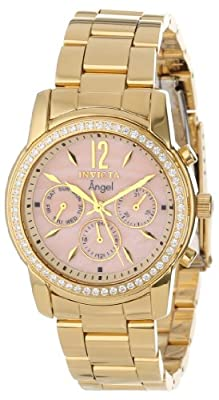 Invicta Women's 11772 Angel Pink Mother-Of-Pearl Dial Cubic Zirconia Accented 18k Gold Ion-Plated Stainless Steel Watch