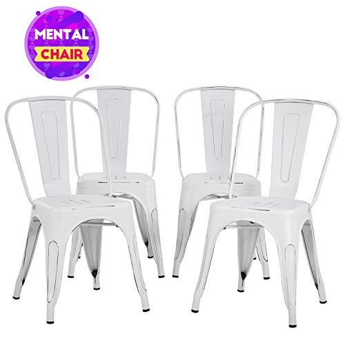 Metal Dining Chairs Set of 4 Indoor Outdoor Chairs Patio Chairs Metal Chairs 18 Inch Seat Height Metal Restaurant Chair Kitchen Chairs 330LBS Weight Capacity Stackable Chair Tolix Side Bar Chairs