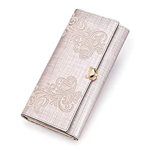 Leather Clutch Wallets for Women, Ladies Bifold Card Case Purses Large Wallets