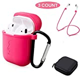 Tutor AirPods Silicone Case Shock Proof Protecitive Cover and Anti-lost Strap and Headphone Case for Apple AirPods(Prink)