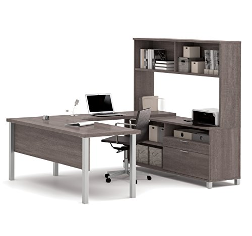 BESTAR Pro-Linea U-Desk with Hutch, Bark Grey by Bestar
