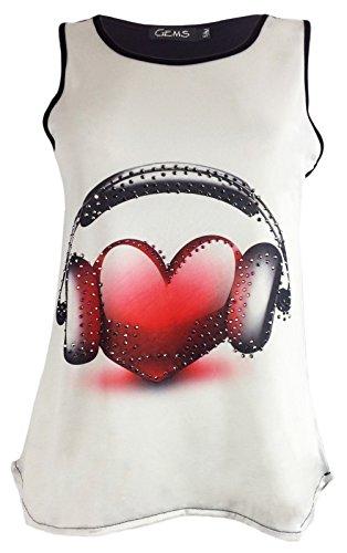 Generic - Camiseta sin mangas - para mujer Headphone Heart Print