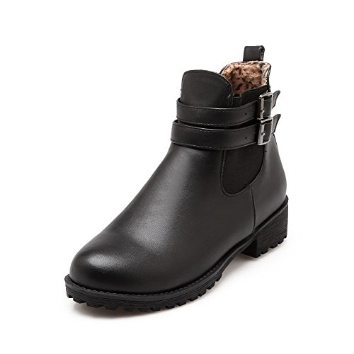 on Pull Boots top Closed Heels Round Low Women's AgooLar Black Toe PU Low 1HSwRqTqn