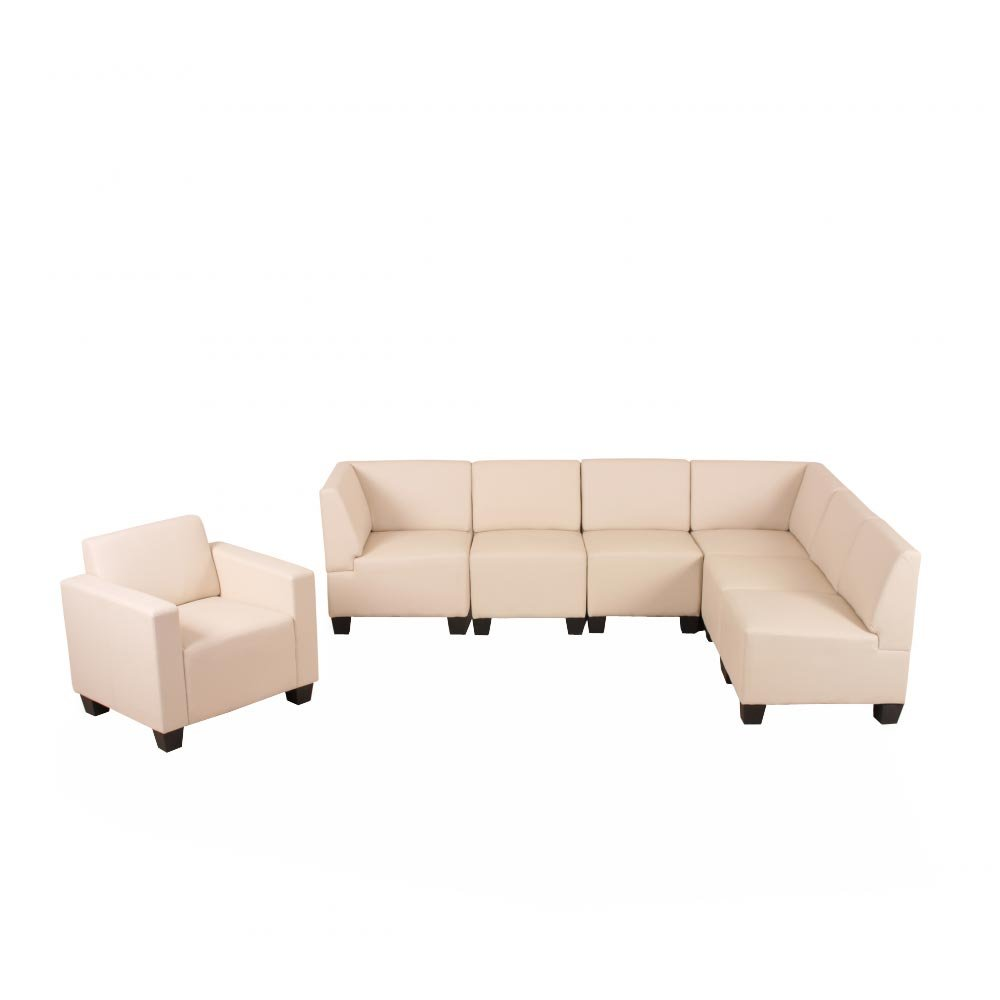 Modular Sofa-System Couch-Garnitur Lyon 6-1, Kunstleder ~ creme