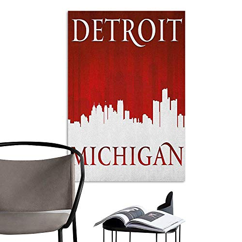 Camerofn Art Decor 3D Wall Mural Wallpaper Stickers Detroit Michigan City Silhouette Red and White Composition with Classical Typography Red and White Hall Fashion W20 x -