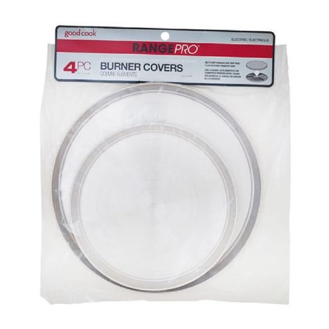 """Range Pro Set of 4 Heavy Duty Stainless Steel Burner Covers by Good Cook - Two 8"""" (20.3cm) and Two 10.5"""" (26.6cm) Covers"""
