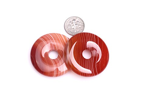 GEM-inside Natural 40mm Donuts Rings Red Onyx Sardonyx Agate Stone Beads for Jewelry Making 1 PCS