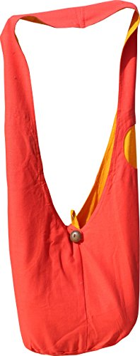 - RaanPahMuang Brand Two Tone Reversible Cotton Sling Shoulder Yaam Monks Bag with Strap Pocket, Medium, Yellow