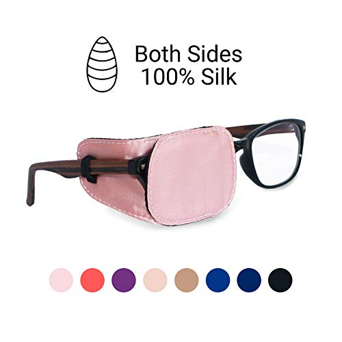 Astropic Silk Eye Patch for Adults Kids Eye Patch for Glasses Medical Patch for Lazy Eye Amblyopia Strabismus and After Surgery (English Rose Pink) from Astropic