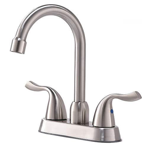 Modern Two Handle Stainless Steel Brushed Nickel Finish Lavatory Vanity Basin Bathroom Sink Faucet, Bathroom Faucets ()