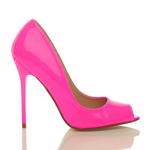 Ajvani Zapatos de tacón para mujer, puntera abierta estilo peep toe Rosa - Neon Fuchsia Pink Patent