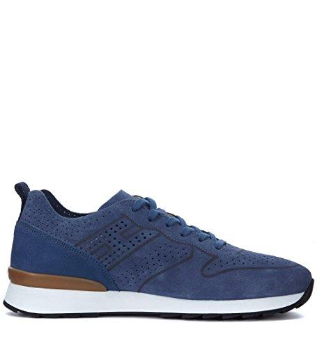 Hogan Sneaker R261 in Suede e nabuk Blu Traforata Blu