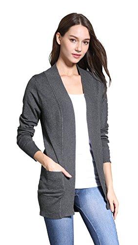 Price comparison product image Sofishie Classic Open Front Long Sleeve Cardigan - Gray - Medium
