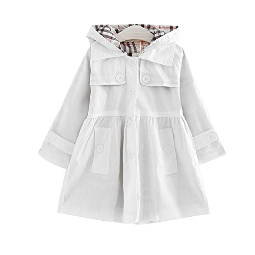 LSERVER Little Girls A-line Single Breasted Hooded Cotton Trench Coat Jacket White 140 - Fur Single Breasted Coat