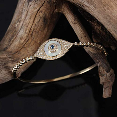 Natural Pave Diamond Solid 14k Yellow Gold Mother of Pearl Blue Sapphire Evil Eye Bracelet Gemstone Fine Jewelry Religious Bangle Xmas ()