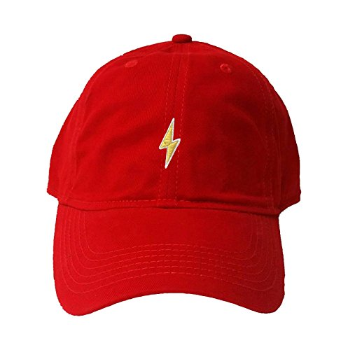 Bolt Hat (Go All Out Screenprinting Adjustable Red Adult Lightning Bolt Embroidered Deluxe Dad Hat)